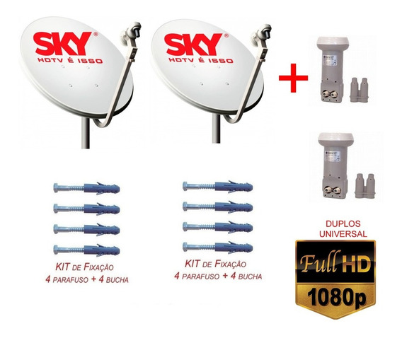 2 Antenas Banda Ku Lnb Duplo +cabo+conector Completona