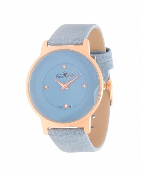 Polo Club Reloj Dama Azul Claro Rosa Gold Moda