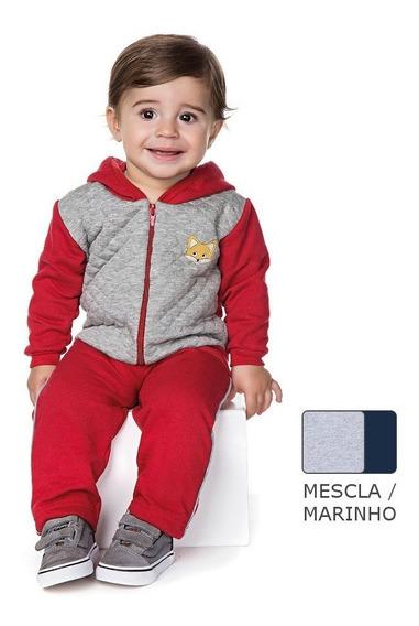 Conjunto Bebê Menino Inverno Calça Moletom Casaco Matelasse
