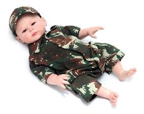 Macacão Curto Camuflado Com Boné Para Bebê