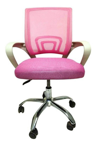 Cadeira Home Office Fit 1001 Cromada/branca E Rosa/reg Altur