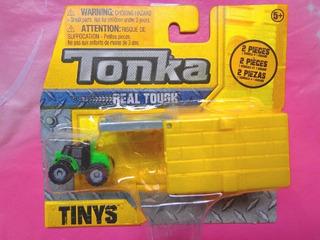Tonka Tinys Tractor Verde Miniatura Con Cajon Amarillo