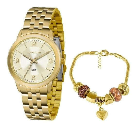 Kit De Relógio Feminino Lince Lrg4505l Dourado