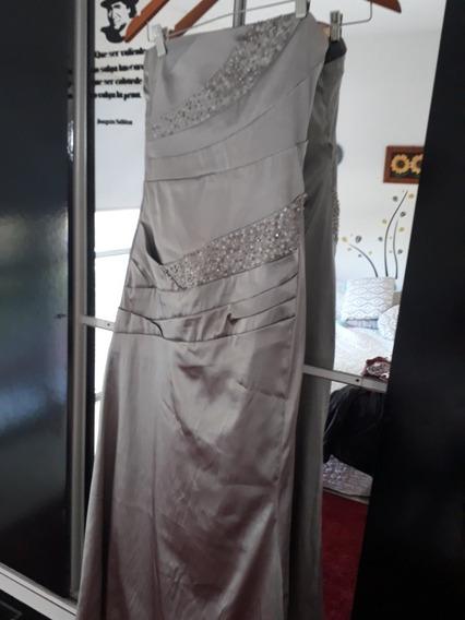 Vendo Vestido De Fiesta Color Peltre Bordado Con Piedras T M