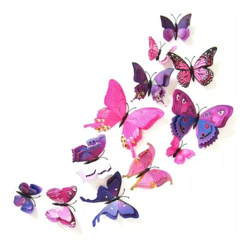 Imagen 1 de 10 de Mariposas Decorativas 3d !!! 12 Piezas Alas Dobles !