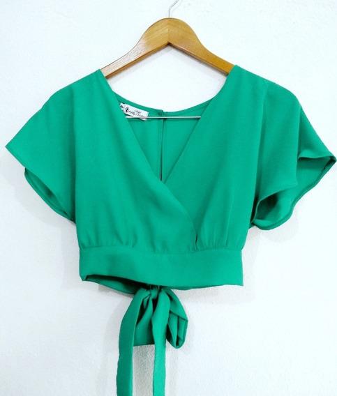 Blusa Blusinha Feminina Cropped Com Laço Verão( Kit Com 2 Peças)