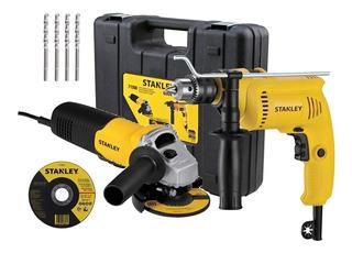 Taladro Percutor 13mm + Amoladora 710w Stanley Shg6070ka