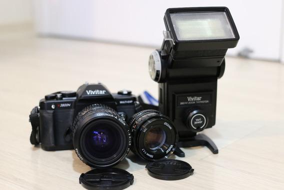 Câmera Analógica Vivitar V3800 + Lentes 50 E 28-80mm + Flash