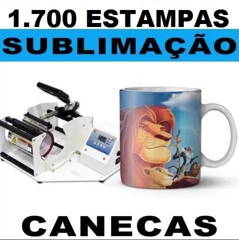 Sublimação Canecas Squeezes 1.700 Estampas Artes + Gabaritos