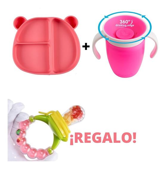 Plato Silicon Oso Rosa Y Vaso 360 C/chupon Fruta De Regalo