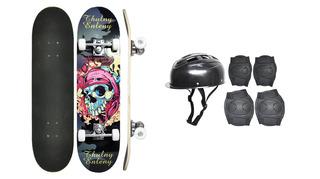 Skate Infantil + Acessórios Segurança Com 5 Itens + Bolsa