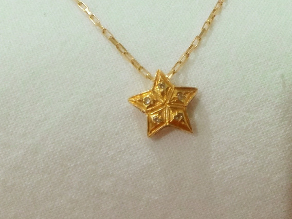 Corrente Cartier Ouro 18k + Pendente Estrela Ouro 18k Com