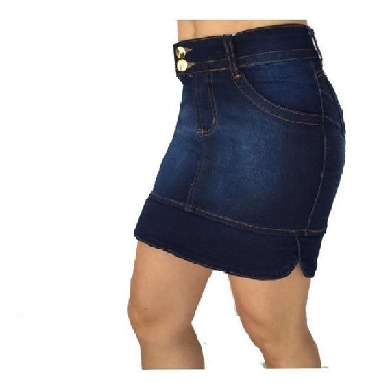Saia Jeans Secretaria Moda Evangélica Com Bojo Modela Bumbum