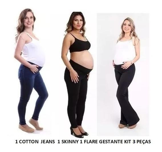 Calça Cotton Jeans E Skinny Flare Gestante Grávida Kit 3peça