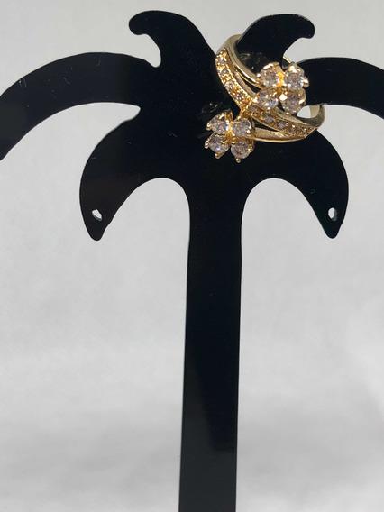 Anel Folheado Ouro 18k Com Pedra Zircônio Detalhe De Flor