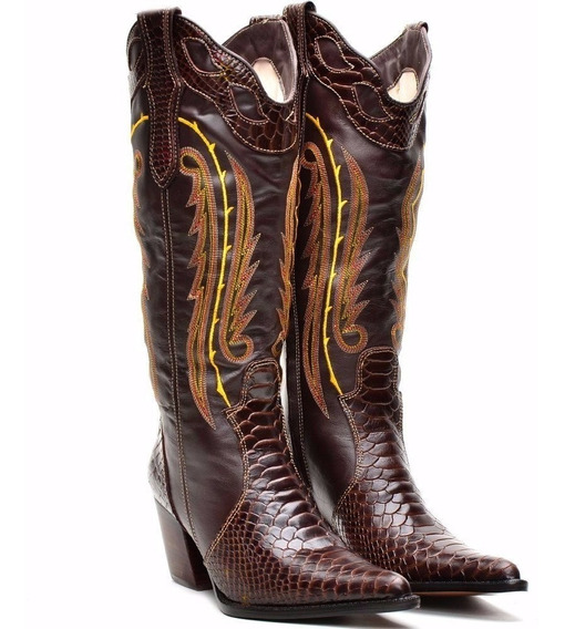 Bota Feminina Couro Country Rodeio Barretos Texas Montaria