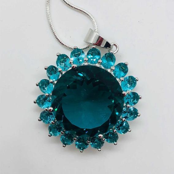 Colar Em Prata 925 Com Pingente Em Pedra Azul, Redondo