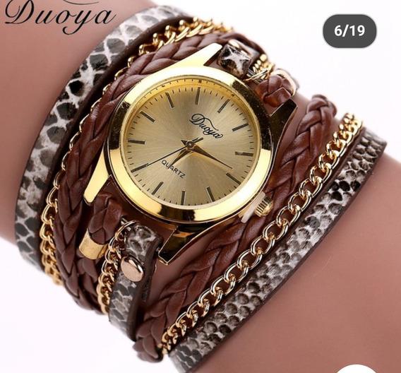 Relógio Couro Feminino Barato Quartz Luxo Promoção Duoya
