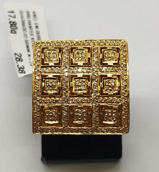 Anel Ouro 18k Brilhantes Quadrado 22.50mm N-24/ 17,80g