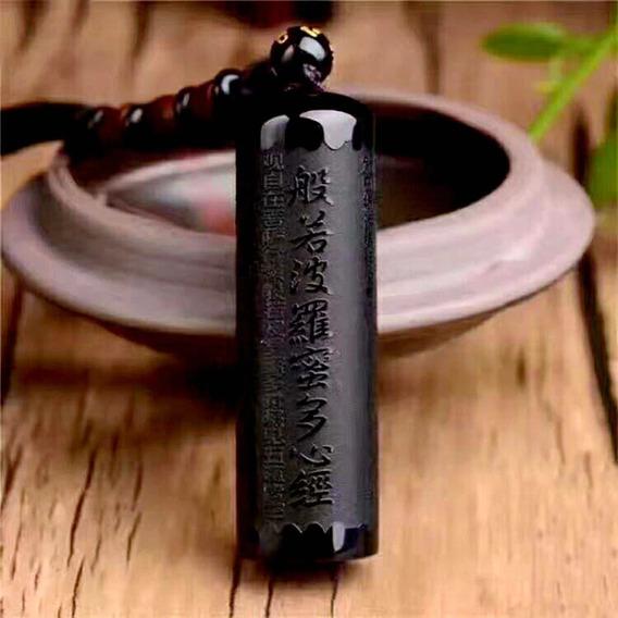 Colar Prajna Sutra Coração Buda Cordão Pingente Obsidiana