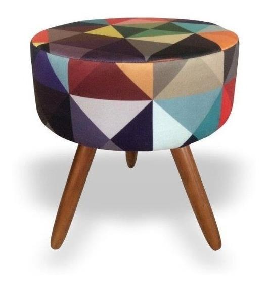 Puff Puf Decorativo Sala Lavínia Triângulo Colorido