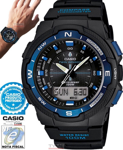 Relógio Casio Outgear Sgw-500h-2bvdr Bússola Termômetro Nfe