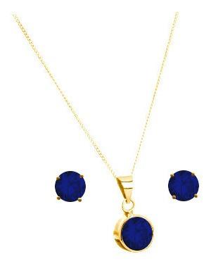 Collar Cadena Dije Azul Zafiro Broqueles Plata Y Baño Oro