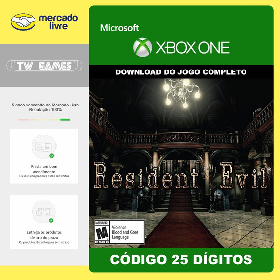 Resident Evil Remaster Codigo 25 Digitos Original Xbox One