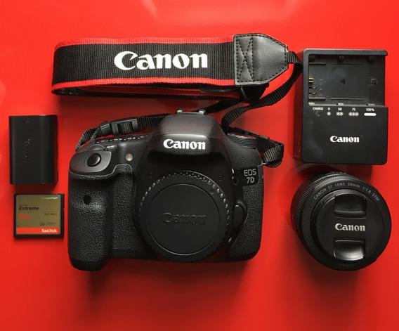 Canon Eos 7d (12k Cliques) + Kit Lente 50mm E Cartão 64gb