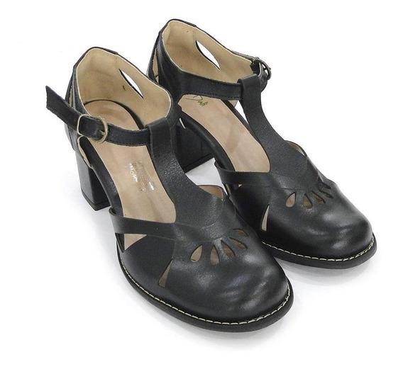 Sapato Boneca Couro Dali Shoes Salto Grosso Médio
