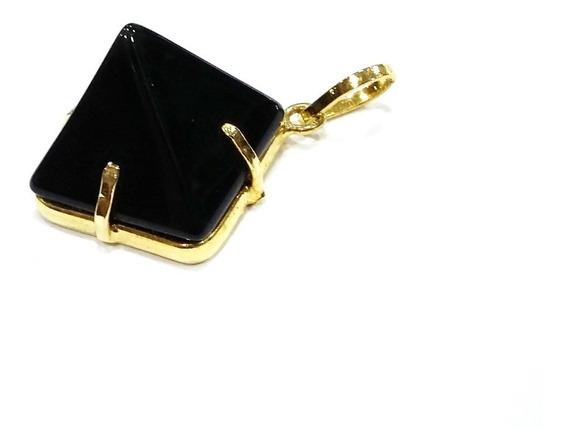 Pingente Obsidiana Negra Em Pirâmide P/proteção Pequeno Ouro