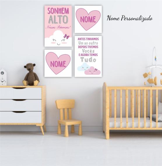 Placas Decorativas Infantil Bebê Sonhem Alto Irmãs Decoração