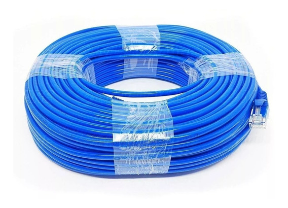 Cabo De Rede Rj45 50m Ethernet Lan Rj45 Cat5e Azul 50 Metros
