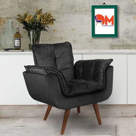 Poltrona Amamentação Decorativa Opalla Preto Cadeira Kit
