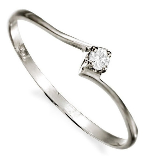 Anel Solitário Ouro Branco 18k750 Com Diamante De 15 Pontos