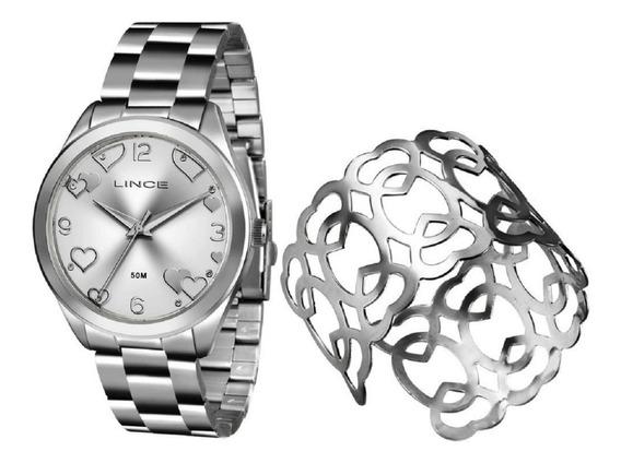 Kit Relogio + Bracelete Feminino Lince Coração Prata