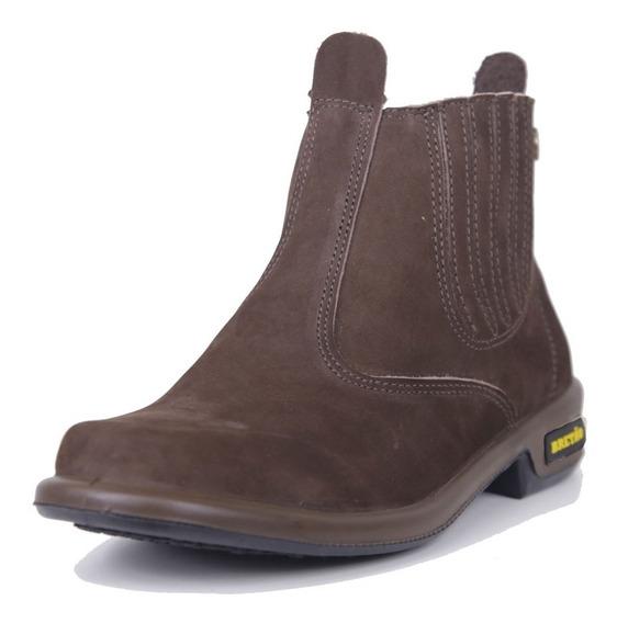 Nova Botina Bretão Boots Em Couro Nobuck Injetada Pu Ref3250