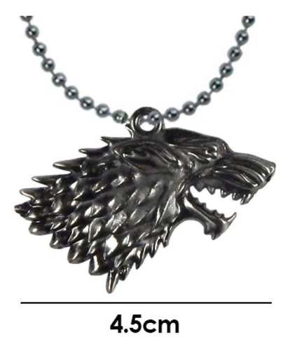 Game Of Thrones Dije Collar Casa Stark Lobo Juego De Tronos