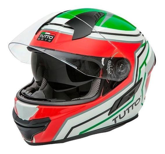 Capacete Tutto Racing (c/ Viseira Solar) Verde/vermelho S2r