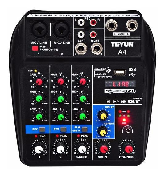 Mesa De Som Tyeun A4 - Interface De Áudio/ Bluetooth/ Ph48 V