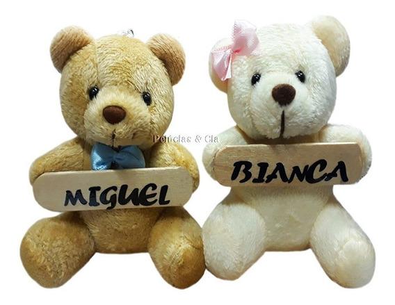 Mini Chaveiro Urso De Pelúcia Com Nome Na Placa 13pçs