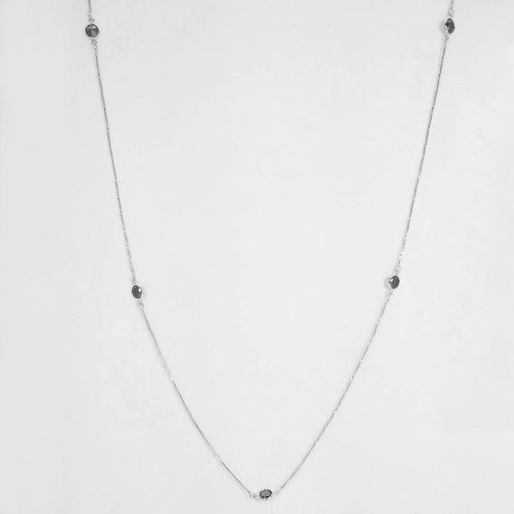 Colar Longo Tiffany Com Zirconia Negra Banho Ródio Branco