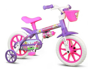 Bicicleta Infantil Aro 12 Violet Nathor Rosa Roxa Menina +3