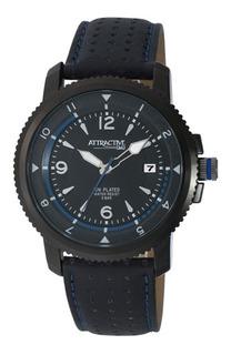 Reloj Hombre Q&q Da20j Acero Black Cuero Perforado Wr50m