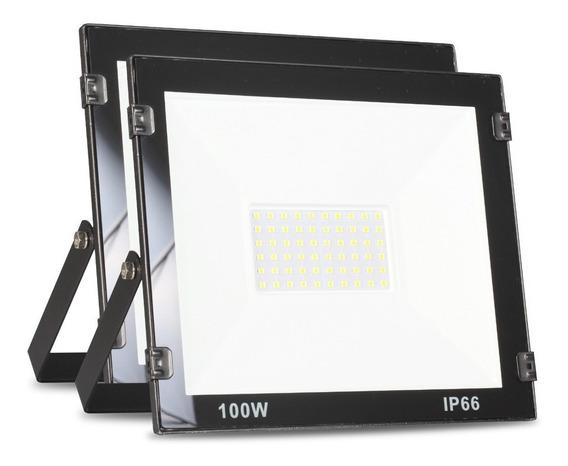 Kit 2 Refletor Led 100w Branco Frio Holofote Prova D