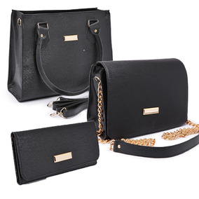 6e9dd51a8 Bolsa Feminina Kit Com 3 Bolsas Grande Pequena Bau Carteira