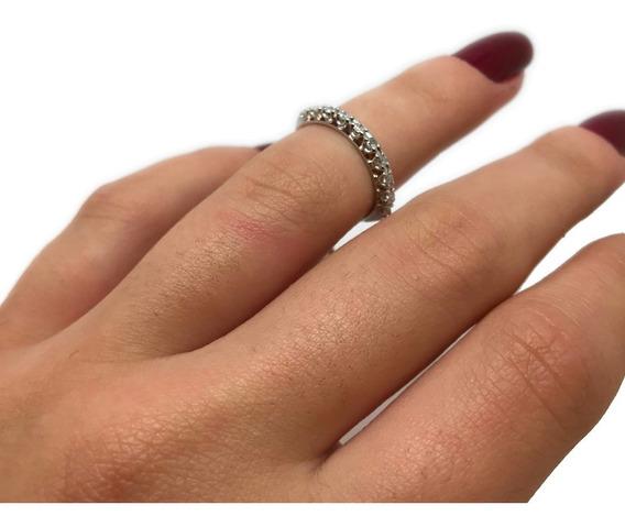 Meia Aliança Diamantes Brilhantes 0,15cts Ouro Branco 09549