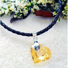 Collar Con Crystals Swarovski En Piel Sintética