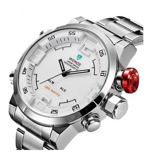 Relógio Masculino Original Aço Prata Cinza Grande Esportivo