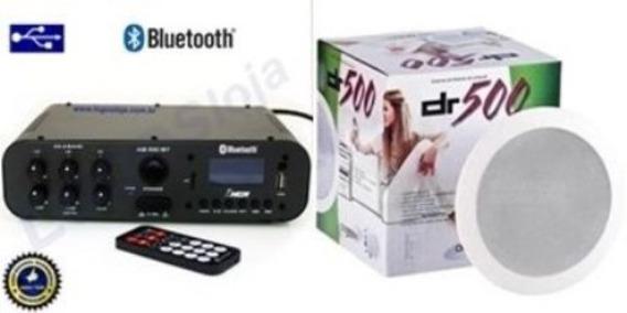 Amplificador Ab100bt Nca Bluetooth + 1 Par Cx Gesso Dr500
